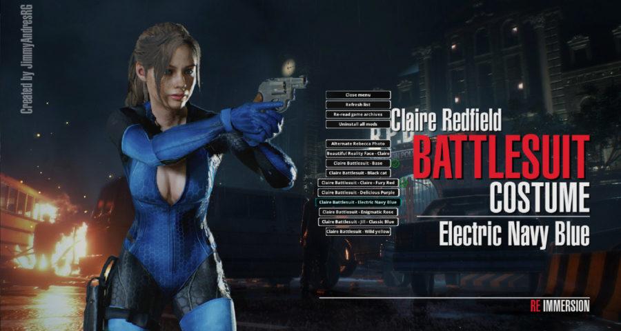 Скачать мод костюм Battlesuit из Resident Evil 5 для Клэр Редфилд, Resident Evil 2: Remake