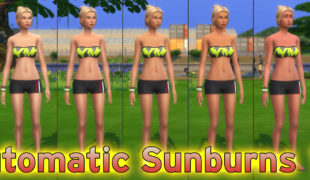 The Sims 4 мод: Загар ( Automatic Sunburns 10a )