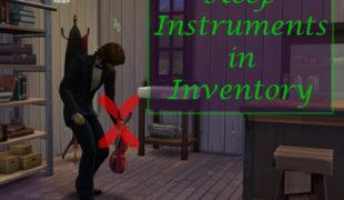 Мод для Симс 4: музыкальные инструменты в инвентаре