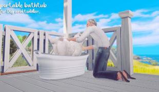 Мод для Симс 4: портативная ванна для собак и малышей